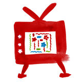 Cartoon TV child drawing. Stock Photography