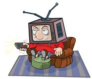 Cartoon TV Man. Royalty Free Stock Photos