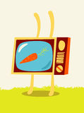 Cartoon TV-rabbit with carrot on the screen. Vector illustration. Stock Images