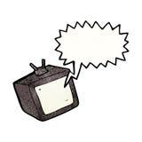 Cartoon tv screen with speech bubble. Retro cartoon with texture. Isolated on White Royalty Free Stock Photos