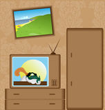 Cartoon with TV-set Royalty Free Stock Images