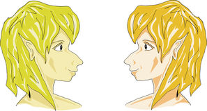 Cartoon tweens boys faces. Illustration of boys faces Close up Royalty Free Stock Photo