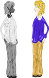 Cartoon tweens boys. Illustration of boys  Color and White and black Royalty Free Stock Photography