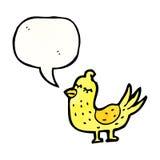 Cartoon tweeting bird. Retro cartoon with texture. Isolated on White Stock Photo
