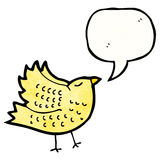Cartoon tweeting bird. Retro cartoon with texture. Isolated on White Royalty Free Stock Photography