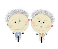 Cartoon twin boy. In holiday and freetime Stock Photos