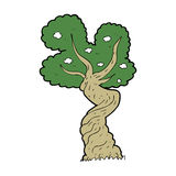 Cartoon twisted old tree Royalty Free Stock Image