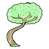 Cartoon twisty tree. Retro cartoon with texture. Isolated on White Stock Photography