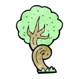 Cartoon twisty tree. Retro cartoon with texture. Isolated on White Stock Photo