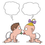 Cartoon of two babies with blank speech captions Royalty Free Stock Images