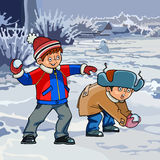 Cartoon two boys playing snowballs in winter. Cartoon two boys playing snowballs winter Stock Images