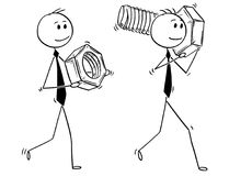 Cartoon of Two Businessmen Carrying Bolt and Nut as Problem Solution Metaphor. Cartoon stick man drawing conceptual illustration of two businessmen carrying big Stock Images