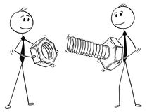 Cartoon of Two Businessmen Carrying Bolt and Nut as Problem Solution Metaphor. Cartoon stick man drawing conceptual illustration of two businessmen carrying big Royalty Free Stock Photography
