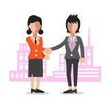 Cartoon two businesswomen shaking hands Stock Photography
