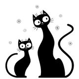 Two cute cat silhouettes. Cartoon two cats silhouettes. Black and white decorative illustration Stock Images