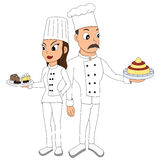 Cartoon with two chefs Stock Images