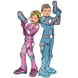 Cartoon of two children in futuristic costumes Stock Images