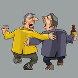 Cartoon two drunk men friends walking and singing. Isolated stock illustration