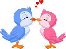 Cartoon two love birds kissing Stock Image