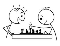 Cartoon of Two Man Playing Chess. Cartoon stick man drawing conceptual illustration of two men or businessmen playing game of chess. Business concept of strategy Stock Images