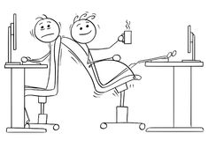 Cartoon of Two Office Workers with Lack of Space for Chairs Stock Image