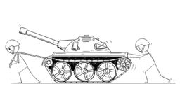 Cartoon of Two Soldiers Pushing and Pulling a Tank vector illustration