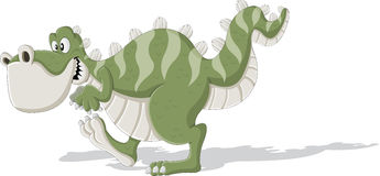 Cartoon tyrannosaur. Cute trex dinosaur walking Stock Photography