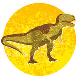 Cartoon tyrannosaur, image with dinosaur into circle isolated on white background Stock Photography