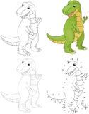 Cartoon tyrannosaur. Vector illustration. Dot to dot game for ki Royalty Free Stock Image