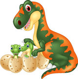 Cartoon tyrannosaurus with baby dinosaur Stock Photos