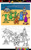 Cartoon ufo aliens group coloring page Royalty Free Stock Photos