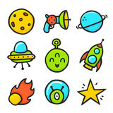 Cartoon ufo emotions emoji isolated vector space set Stock Photography