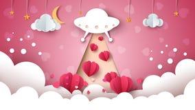 Cartoon ufo. Love, heart illustration. Royalty Free Stock Image