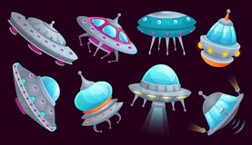 Cartoon ufo spaceship. Alien spacecraft futuristic vehicle, space invaders ship and flying saucer isolated vector set. Cartoon ufo spaceship. Alien spacecraft stock illustration