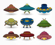 Cartoon ufo spaceship icon set Stock Image