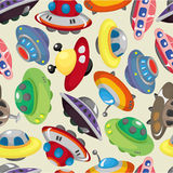 Cartoon ufo spaceship seamless pattern Stock Photo