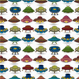 Cartoon ufo spaceship seamless pattern Royalty Free Stock Photo
