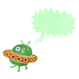Cartoon UFO with speech bubble Royalty Free Stock Images