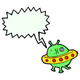 Cartoon UFO with speech bubble Stock Images