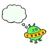 Cartoon UFO with thought bubble Royalty Free Stock Photography