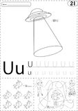 Cartoon UFO, unicorn and boy on the unicycle. Alphabet tracing w Royalty Free Stock Image
