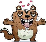 Cartoon Ugly Chipmunk Hug Royalty Free Stock Photo
