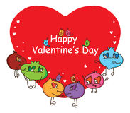 Cartoon ugly Happy Valentines's Day cover Royalty Free Stock Image