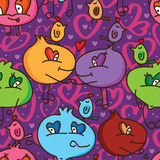 Cartoon ugly love cute seamless pattern Stock Images