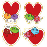 Cartoon ugly love sticker set Stock Photo