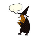 Cartoon ugly old witch with speech bubble Stock Photos