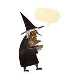 cartoon ugly old witch with speech bubble Royalty Free Stock Photography