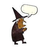 Cartoon ugly old witch with speech bubble Royalty Free Stock Photo