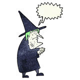 Cartoon ugly old witch with speech bubble Royalty Free Stock Image