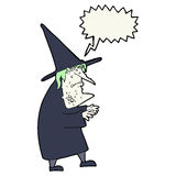 Cartoon ugly old witch with speech bubble Royalty Free Stock Photos